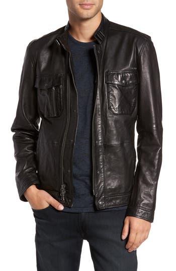 John Varvatos Star USA Leather Zip Front Jacket