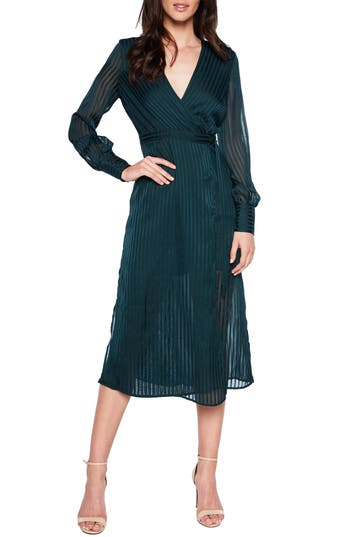 Bardot Shadow Stripe Faux Wrap Midi Dress