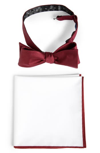 The Tie Bar Formal Silk Bow Tie & Cotton Pocket Square Style Box