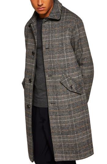 Topman Check Wool Overcoat
