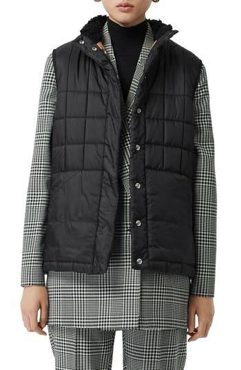 Burberry Leintune Faux Shearling Trim Quilted Vest