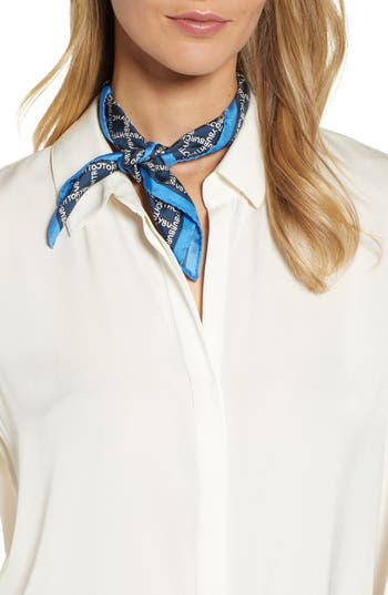 Tory Burch Letter Check Silk Neckerchief