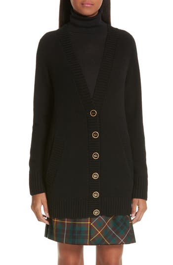Burberry Elqui Logo Button Cashmere Cardigan