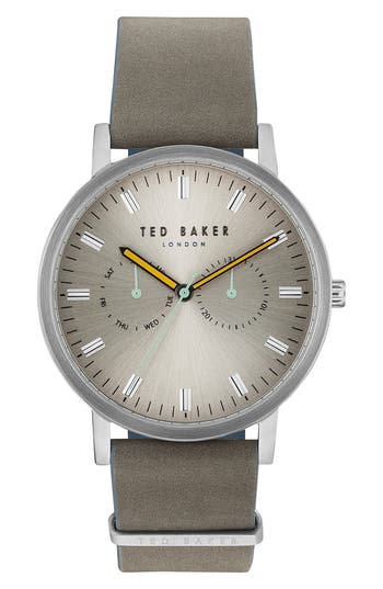 Ted Baker London Brit Leather Strap Watch, 43mm
