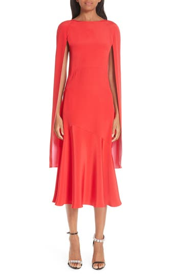 CALVIN KLEIN 205W39NYC Cape Sleeve Silk Cady Midi Dress