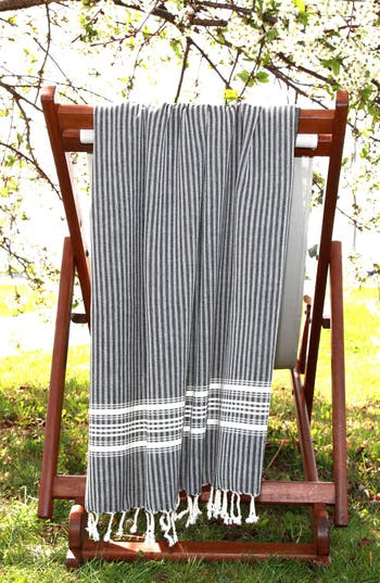 Linum Home Textiles 'Luxe Herringbone' Turkish Pestemal Towel, Size One Size - Black