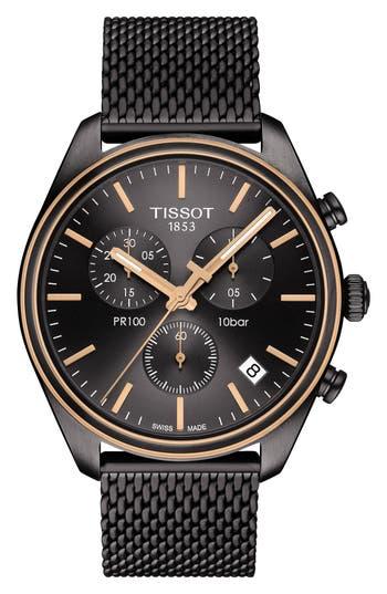 Tissot T-Classic PR 100 Chronograph Mesh Bracelet Watch, 41mm