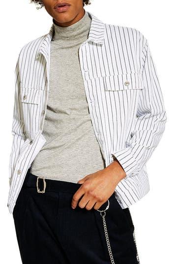 Topman Pinstripe Oversize Denim Jacket