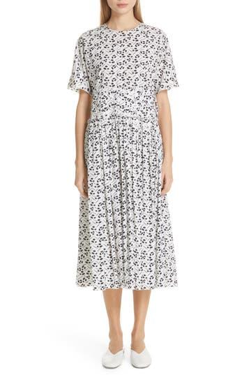 Sara Lanzi Gathered Waist Mulberry Print Midi Dress