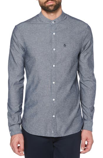 Original Penguin Band Collar Chambray Sport Shirt