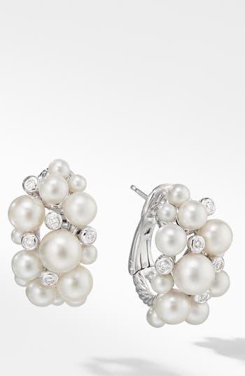 David Yurman Large Pearl Cluster Hoop Earrings with Diamonds