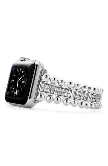 LAGOS Smart Caviar Sterling Silver & Diamond Link Band for Apple Watch®