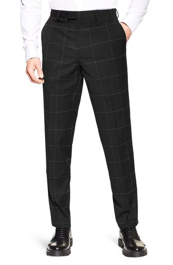Topman Slim Fit Topstitched Suit Trousers