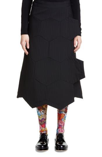 Comme des Garçons Honeycomb Pinstripe Wool Wrap Skirt