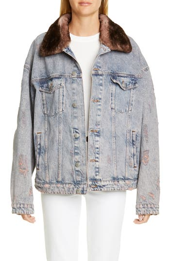 Alchemist Rocky Denim Jacket with Genuine Orylag® Rabbit Fur Trim