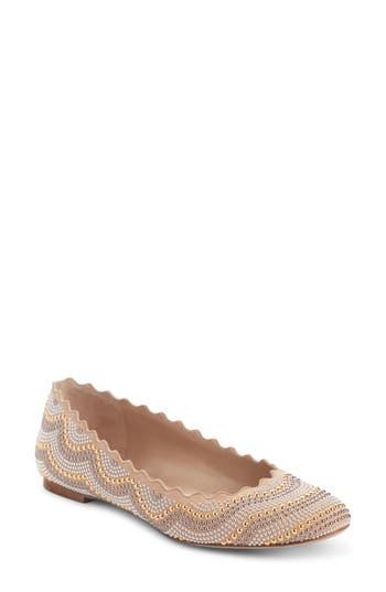 Chloé Lauren Scalloped Studded Ballet Flat (Women)