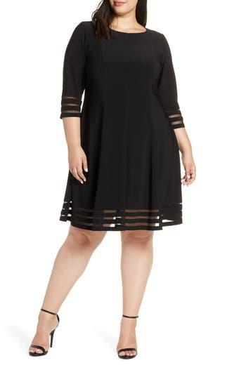 Eliza J Mesh Inset Fit & Flare Dress (Plus Size)