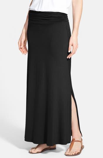 Bobeau Ruched Waist Side Slit Maxi Skirt, Black