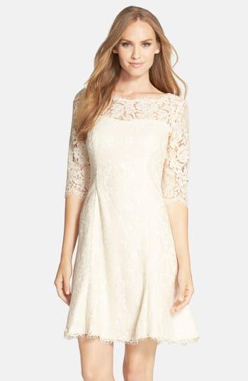 Eliza J Lace Fit & Flare Dress, Ivory