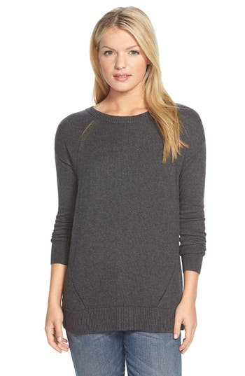 Caslon Button Back Tunic Sweater, Grey