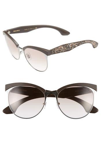 Miu Miu 5m Pave Cat Eye Sunglasses - Gunmetal/ Brown Gradient