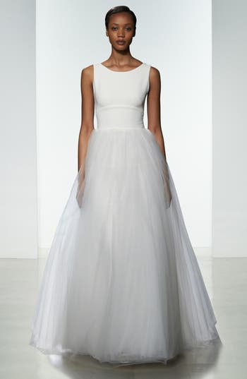 Nouvelle Amsale Libby Illusion Back Crepe & Tulle Ballgown (In Selected Stores Only)