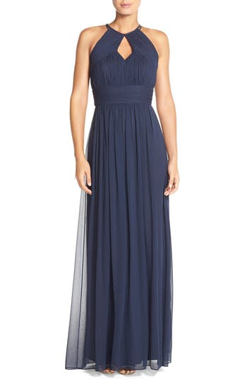 Dessy Collection Ruched Chiffon Keyhole Halter Gown, Blue