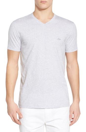 Lacoste Stripe V-Neck T-Shirt, Grey