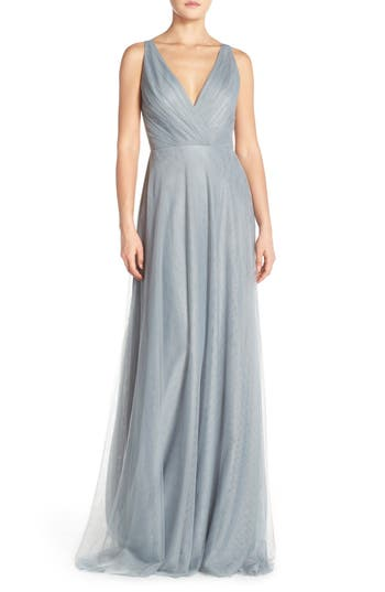Monique Lhuillier Bridesmaids Back Cutout Pleat Tulle Gown, Grey