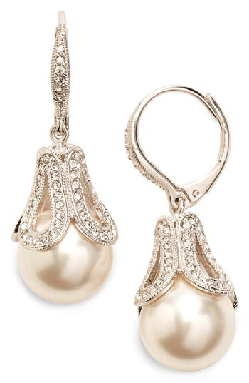 Nadri Imitation Pearl Drop Earrings