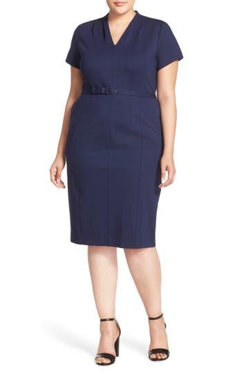 Plus Size Sejour Belted Ponte V-Neck Sheath Dress