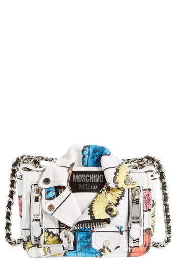 Moschino 'Small Biker Jacket - Floral Print' Shoulder/crossbody Bag - at NORDSTROM.com
