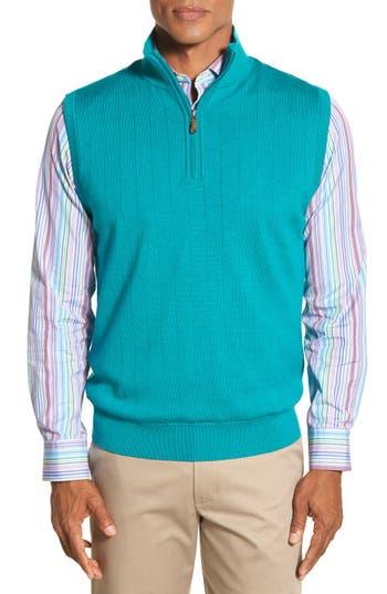 Bobby Jones Quarter Zip Wool Sweater Vest, Green