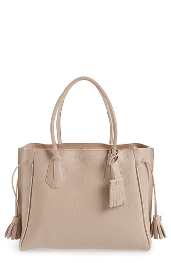 Longchamp 'Penelope' Tassel Drawstring Leather Tote - Grey
