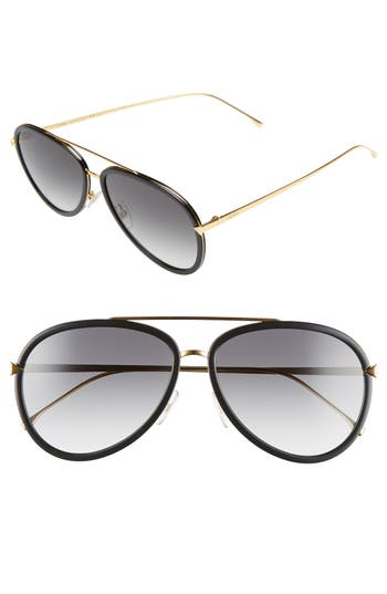 Women's Fendi 57Mm Aviator Sunglasses - Black/ Yellow Gold