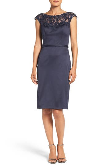 La Femme Embellished Illusion Yoke Woven Sheath Dress