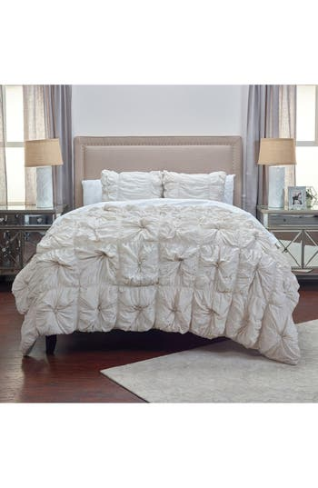 Rizzy Home Knots Comforter & Sham Set, Size Full/Queen - Grey