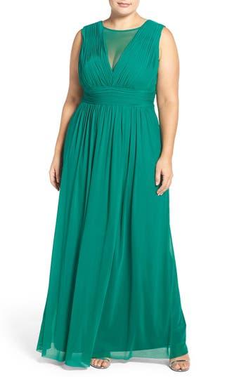 Plus Size Women's Marina Illusion Neck A-Line Gown, Size 18W - Green