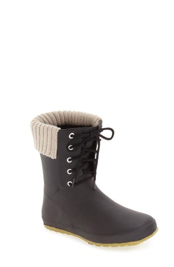 Dav Lace-Up Weatherproof Rain Boot, Black
