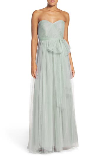Jenny Yoo Annabelle Convertible Tulle Column Dress, Green
