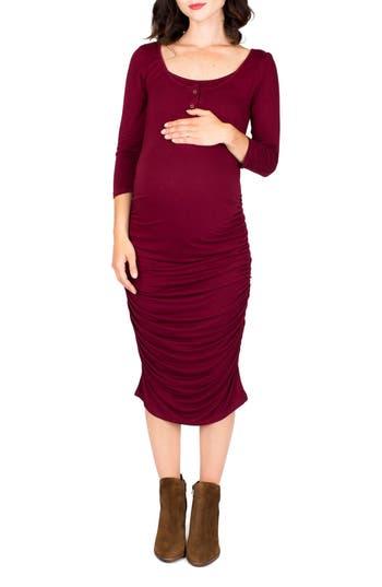 Nom Henley Maternity Dress, Burgundy