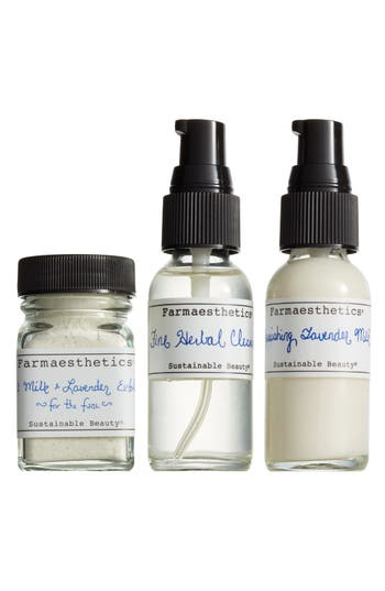 FARMAESTHETICS THREE-PIECE LAVENDER FACIAL-TO-GO SET