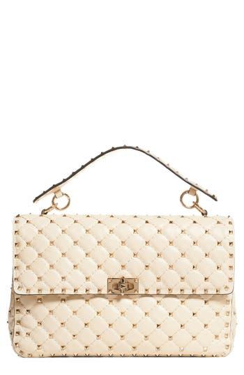 Valentino Garavani Rockstud Quilted Leather Shoulder Bag - White