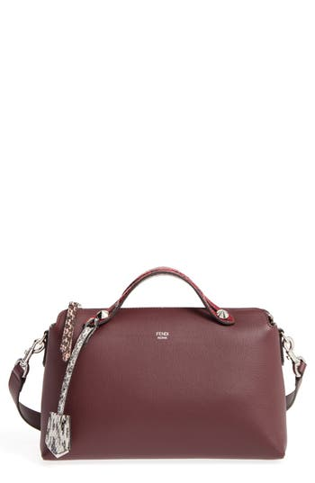 Fendi 'Medium By The Way' Calfskin Leather Shoulder Bag With Genuine Snakeskin Trim - Red
