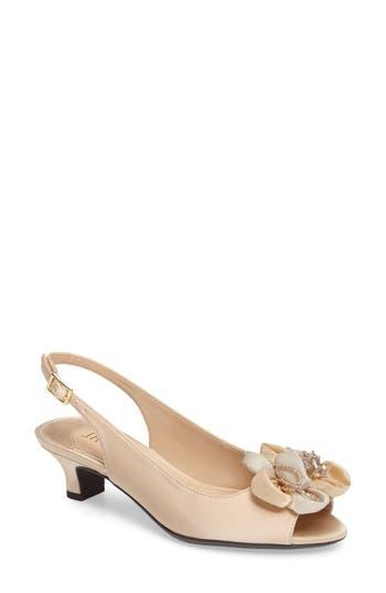 Women's J. Renee Leone Slingback Crystal Embellished Sandal, Size 5.5 B - Beige -  739247770581