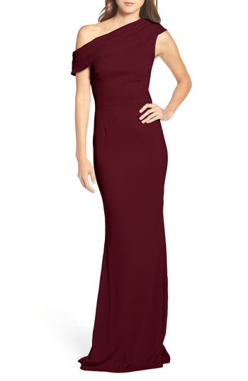 Katie May Layla Pleat One-Shoulder Crepe Gown, Red