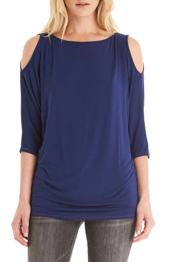 Petite Michael Stars Cold Shoulder Tee, Size One Size - Blue