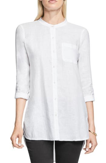 Two By Vince Camuto Collarless Linen Shirt, White