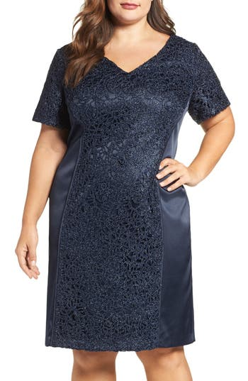 Plus Size Brianna Satin & Lace Sheath Dress