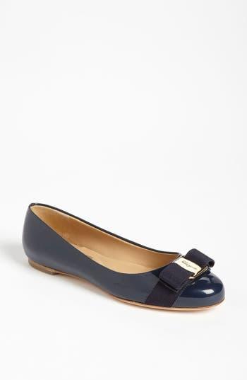 Salvatore Ferragamo Varina Leather Flat, Blue